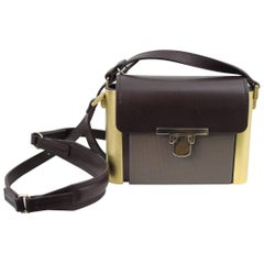 Rare Lanvin Rigid Shoulder Bag in Leather and Metal.