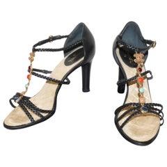 FAN-TAS-TIC Chanel Sandals Blue Leather Jewelery / LIKE NEW