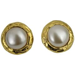 Chanel Vintage Pearl Gold Plated Earrings