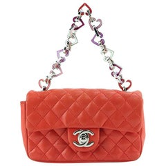 Chanel Orange Quilted Lambskin Heart Charm Chain Mini Flap Handbag
