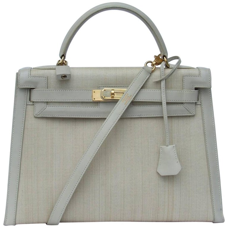 Rare Hermes Kelly Sellier Bag Crinoline Horse Hair Beige Gold Hdw 32 cm 1