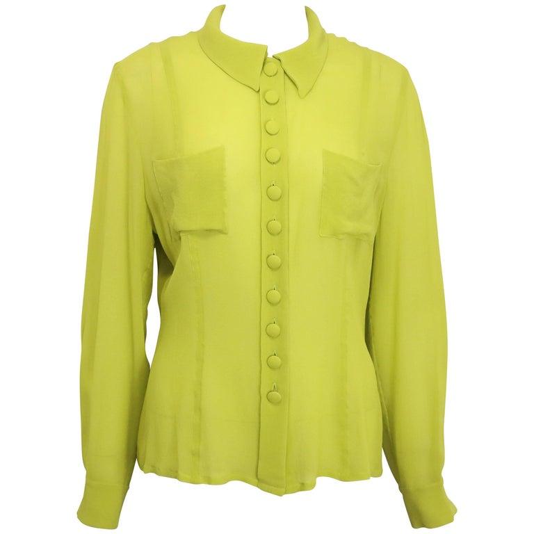 Rochas Green Silk See Through Collar Shirt