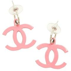 CHANEL Stud Earrings in Enameled Pink Metal