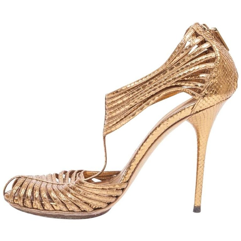 GUCCI  High-Heeled Sandals in Golden Python
