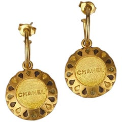 Chanel Round Gold Drop Earrings