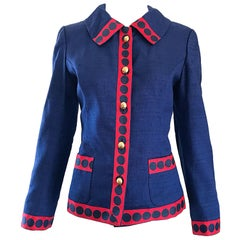 Chic 1960s Navy Blue + Red Silk Shantung Nautical Polka Dot Vintage 60s Jacket