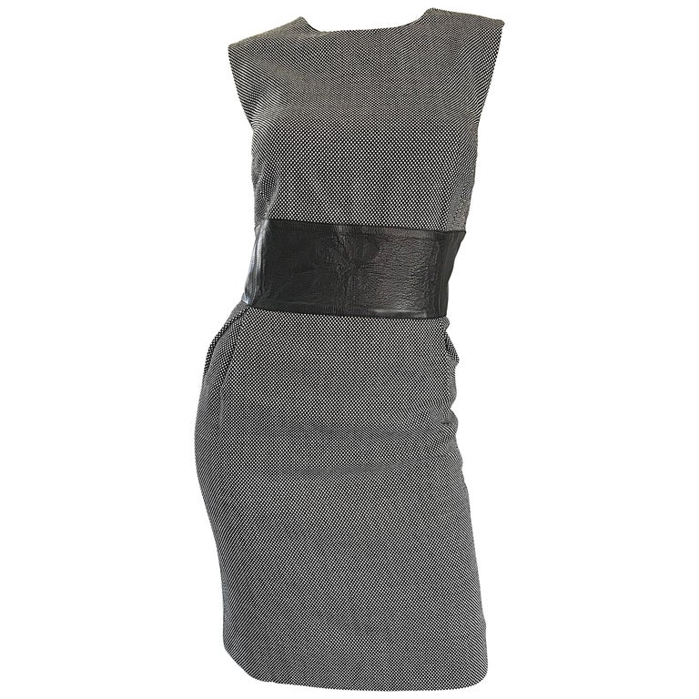 New Michael Kors Collection Size 14 Black and White Wool + Leather Classic Dress For Sale