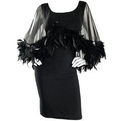 Gorgeous 1950s Demi Couture Black Vintage 50s Dress w/ Sheer Feather Overlay