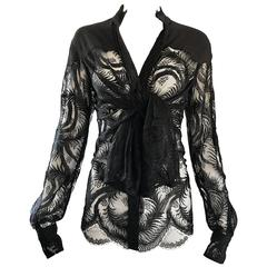 Tom Ford for Yves Saint Laurent Black Chantilly French Lace Semi Sheer Blouse