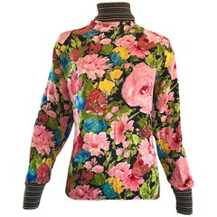 Beautiful Vintage Emanuel Ungaro 1990s Flower Print Silk + Knit 90s Blouse