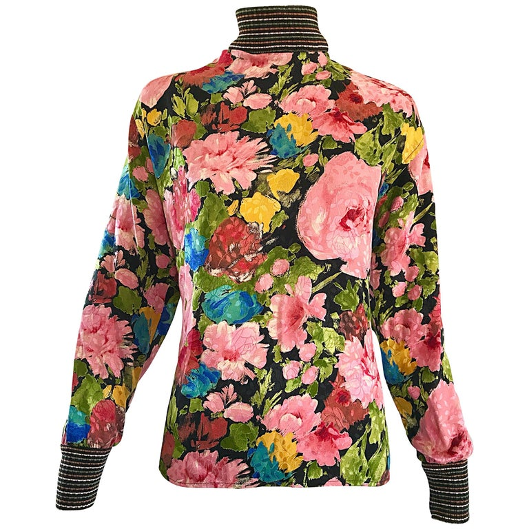 Beautiful Vintage Emanuel Ungaro 1990s Flower Print Silk + Knit 90s Blouse