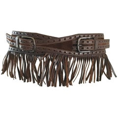 1970s Yves Saint Laurent Brown Leather + Suede Fringe Vintage 70s Boho Belt YSL