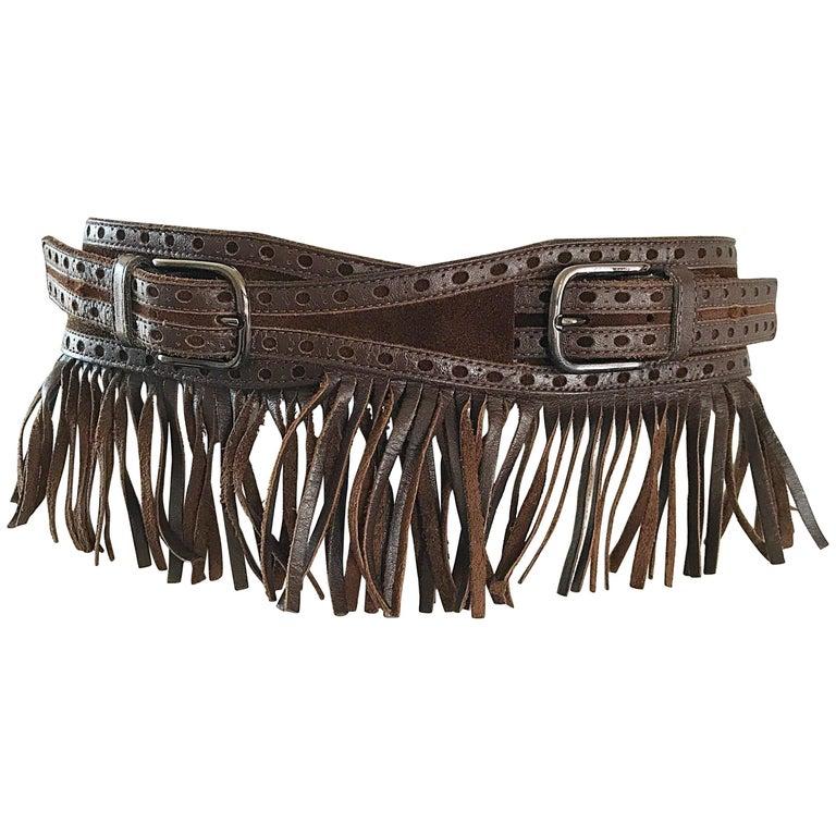 1970s Yves Saint Laurent Brown Leather + Suede Fringe Vintage 70s Boho Belt YSL 1