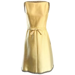 Chic 1960s Jerry Silverman Canary Yellow Silk Shantung Vintage 60s A Line Dress