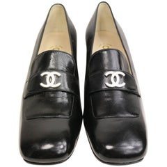 "Chanel Black Patent Silver ""CC"" Logo Square Toe Shoes"