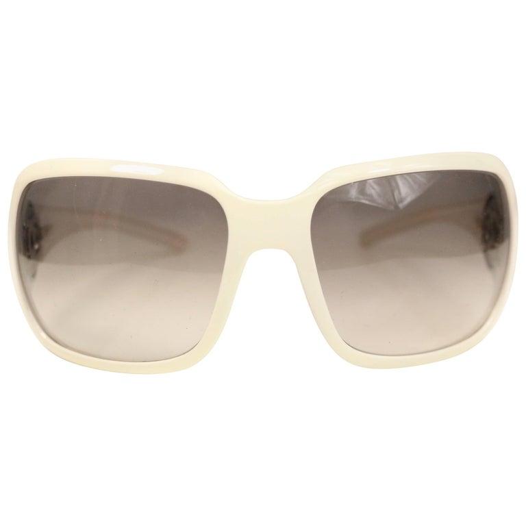 "Chanel White Frame ""CC"" Logo Sunglasses"