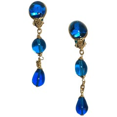 MARGUERITE DE VALOIS Pendant Clip-on Earrings in Blue Molten Glass