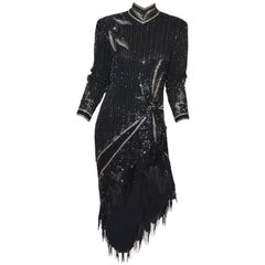 Bob Mackie 1980's Beaded Fringe Dress