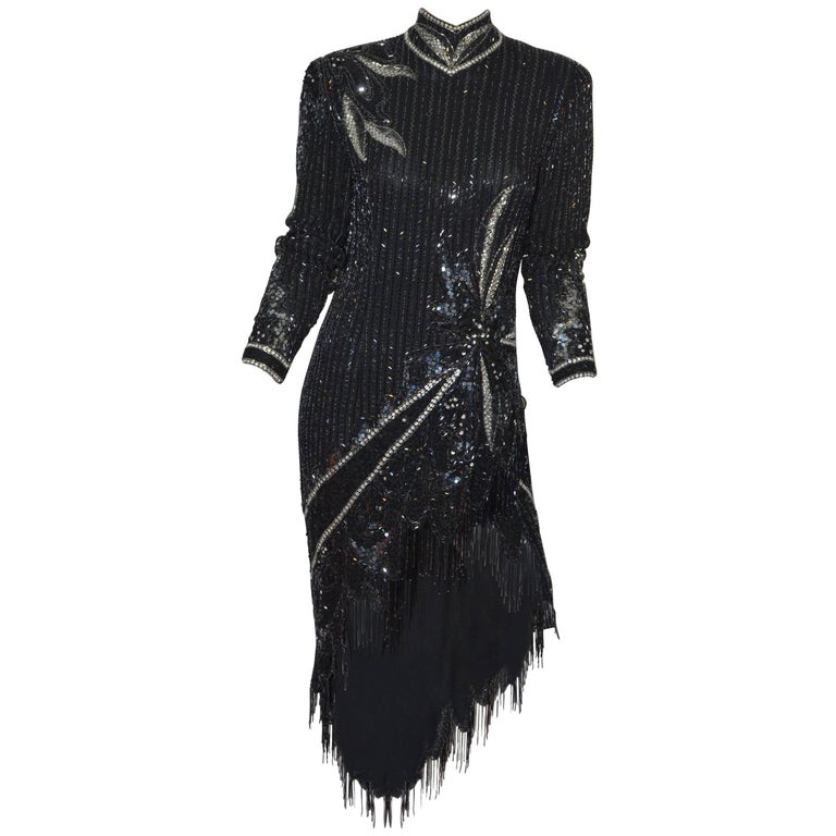 Bob Mackie 1980's Beaded Fringe Dress