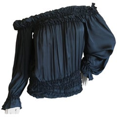 Yves Saint Laurent Tom Ford Silk Off the Shoulder Peasant Blouse Tom Ford Book