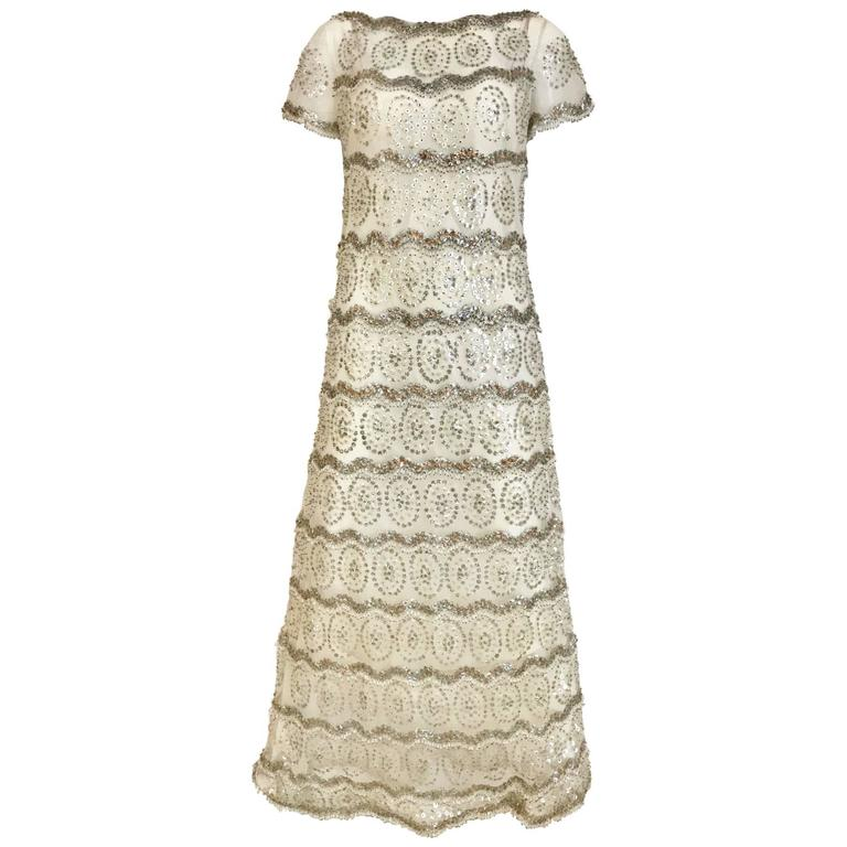 1960s MALCOLM STARR  White Mesh Embellished Beaded Maxi Shift 60s Dress For Sale