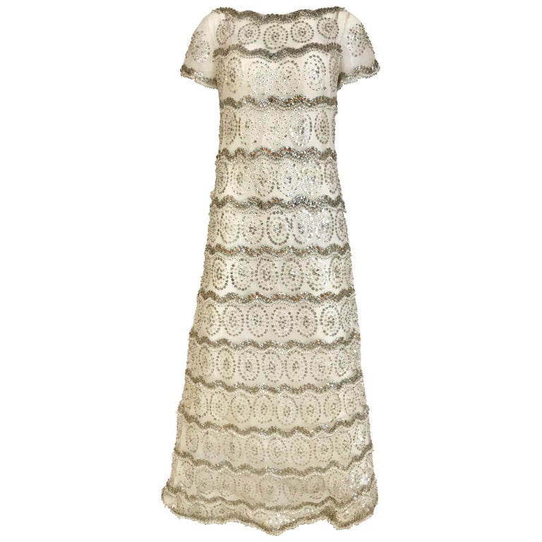 1960s MALCOLM STARR  White Mesh Embellished Beaded Maxi Shift 60s Dress