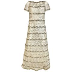 1960s MALCOLM STARR  White Mesh Embellished Beaded Maxi Shift 60s Dress