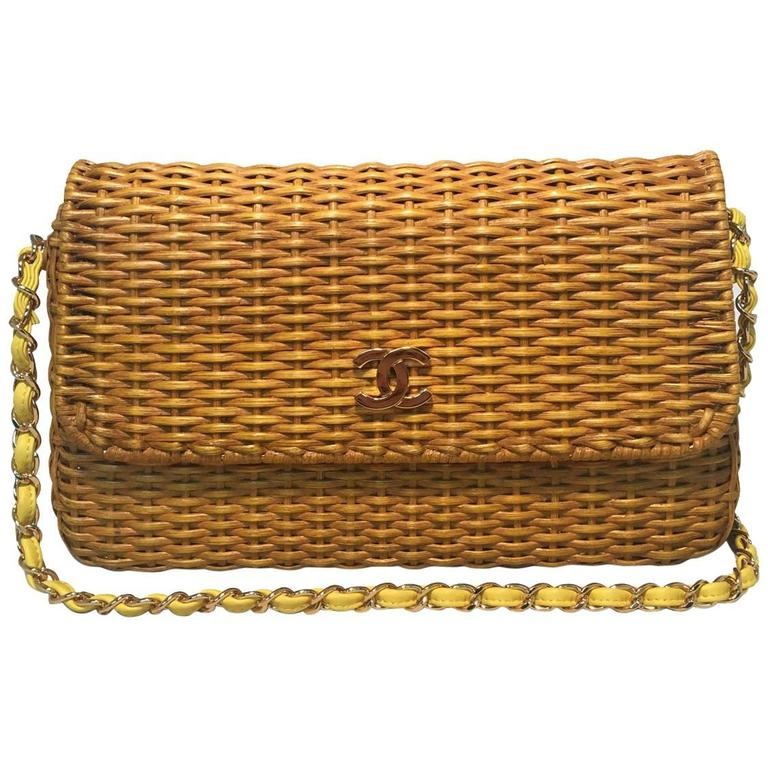 4869b0138c0fd1 Chanel Tan Wicker Rattan Basket Yellow Leather Classic Flap Shoulder Bag  For Sale