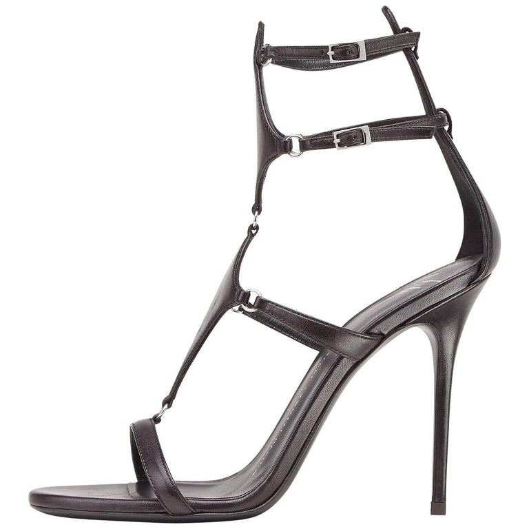 Giuseppe Zanotti New Black Leather Cut Out Strappy Evening Sandals Heels in Box