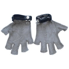 Chanel Silver Tone Metal Mesh Gloves Runway 2011 New Size S