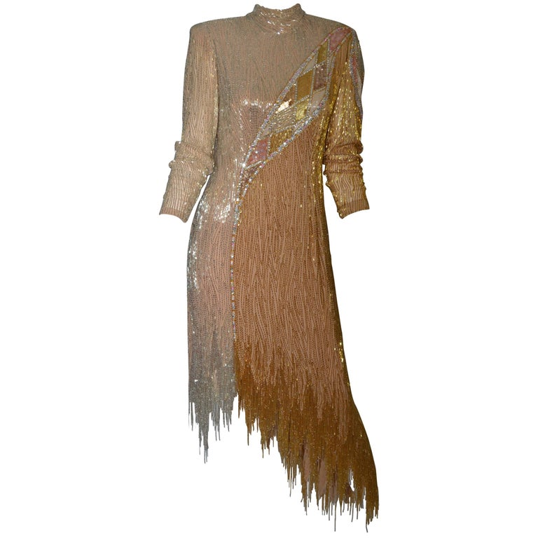 Bob Mackie 1980's Gold Fringe Beaded Dress