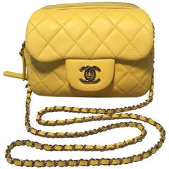 Chanel Yellow Mini Classic Flap Wallet on Chain Shoulder Bag