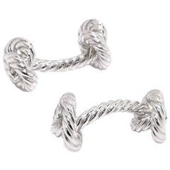 Hermes Vintage Silver Men's Knot Tie Suit Cufflinks in Box