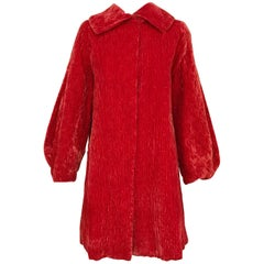 1940s Orange Red Crushed Velvet Coat with Dramatic Sleeves