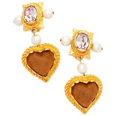 Vintage CHRISTIAN LACROIX Pendant Clip-on Earrings with Crystal, Pearls, Suede