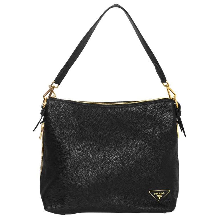 d0e0660446cf8e Prada Black Pebbled Leather Shoulder Bag | Stanford Center for ...