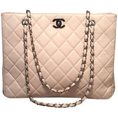 Chanel Cream Quilted Leather Shoulder Bag Tote