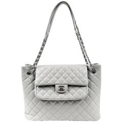 Chanel Grey Caviar Leather Tote Bag