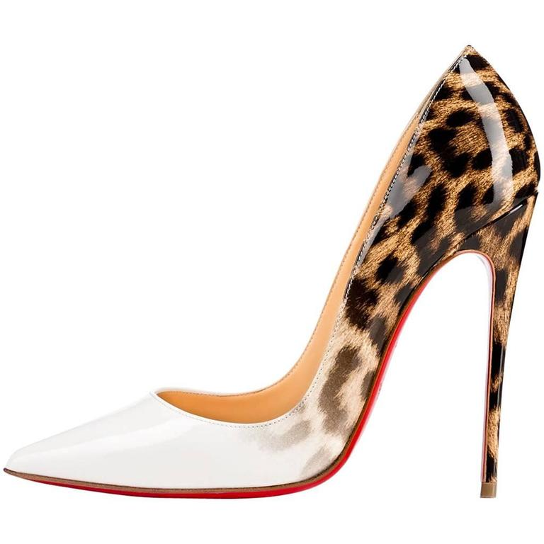 5deba33c5905 Christian Louboutin New Sold Out White Leopard Patent So Kate Pumps Heels  in Box For Sale