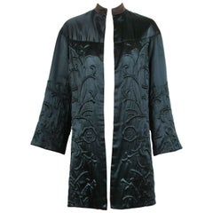 1970's Museum Quality Black Satin Trapunto Stitched Open Front Jacket