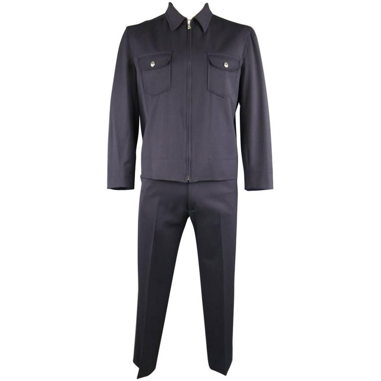 Men's DOLCE and GABBANA Navy Wool Blend Workwear Inspired ...