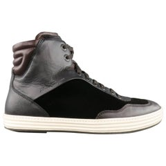 Men's SALVATORE FERRAGAMO Size 9.5 Brown Mixed Materials Velvet Sneakers