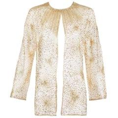 1981 Iconic Halston Gold & Silver Beaded Fireworks Jacket