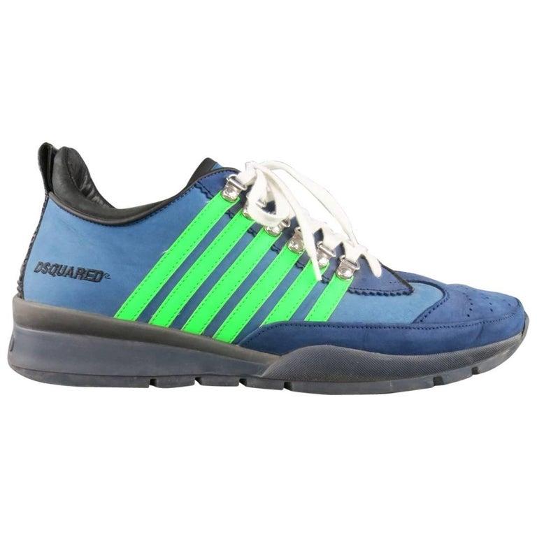 Men's DSQUARED2 Size 13 Blue & Green Striped Nubuck Sneakers