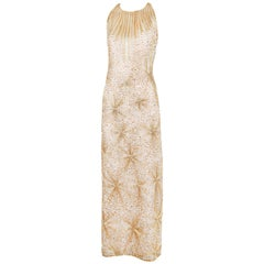 1981 Iconic Halston Gold & Silver Beaded Fireworks Gown