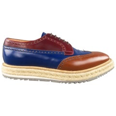 Men's PRADA Size 9.5 Multi-Color Wingtip Platform Espadrille Brogues Spring 2011