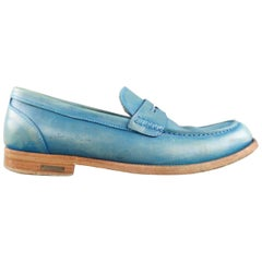 Men's DSQUARED2 Size 9.5 Teal Blue Distressed Leather Penny Loafers