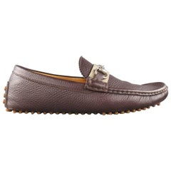 Men's GUCCI Size 8.5 Brown Pebbled Leather Striped Horsbit Strap Driver Loafers