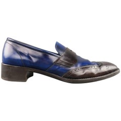 Men's PRADA Size 11 Blue & Brown Two Tone Leather Penny Loafers