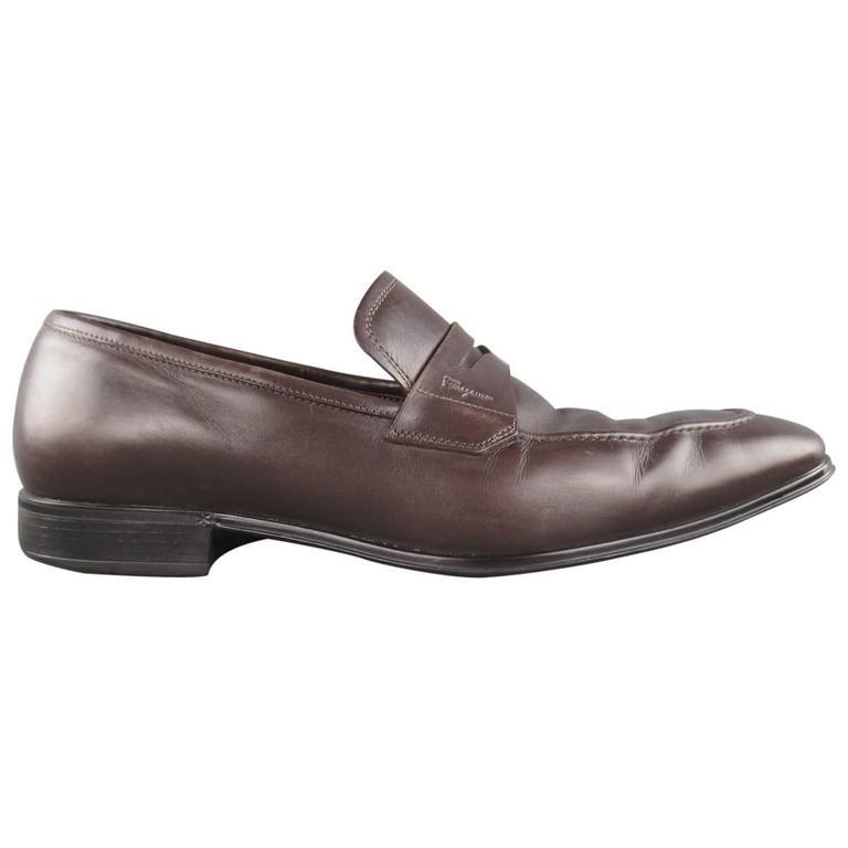 73058ba11354 Men s SALVATORE FERRAGAMO Size 8.5 Brown Leather Penny Loafers For Sale